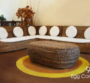 Egg Wicker Corner Set