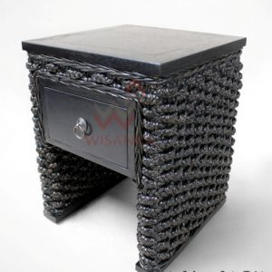 Aqua Wicker Side Table