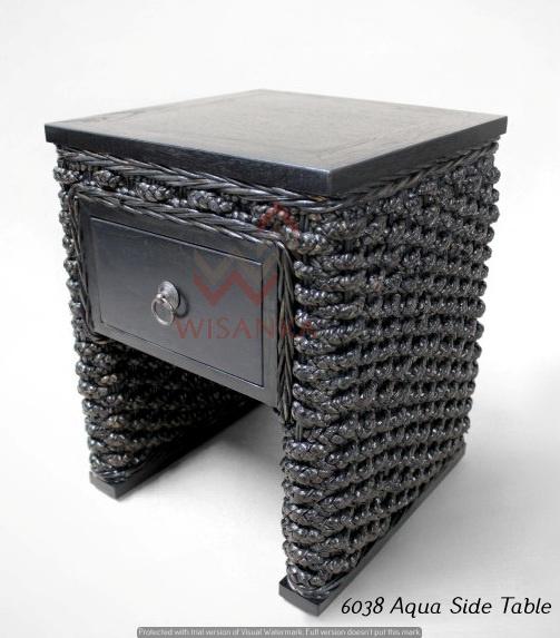 Aqua Wicker Side Table