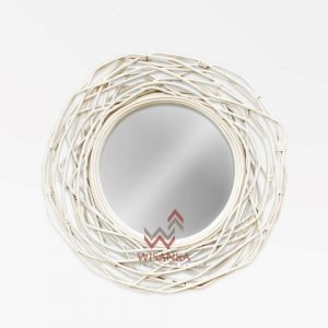 Thicket Rattan Mirror In White