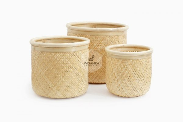 Fresia Round Bamboo Basket Set of 3
