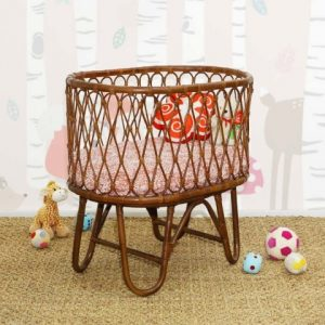 Ovalia Rattan Baby Crib Dark Brown