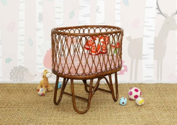 Ovalia Rattan Baby Crib Dark Brown