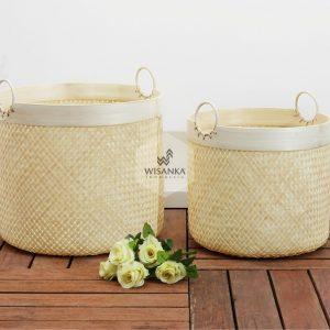 Lilac Rattan Round Basket