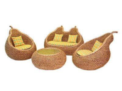 Pear Wicker Living Set