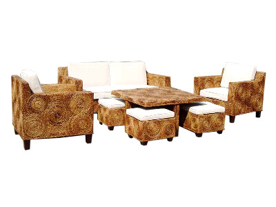 Erlin Rounded Weaving Living Set