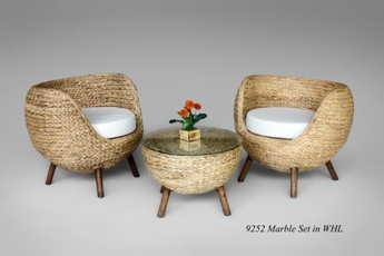 Marble Rattan Living Set
