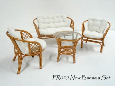 New Bahama Cane Living Set