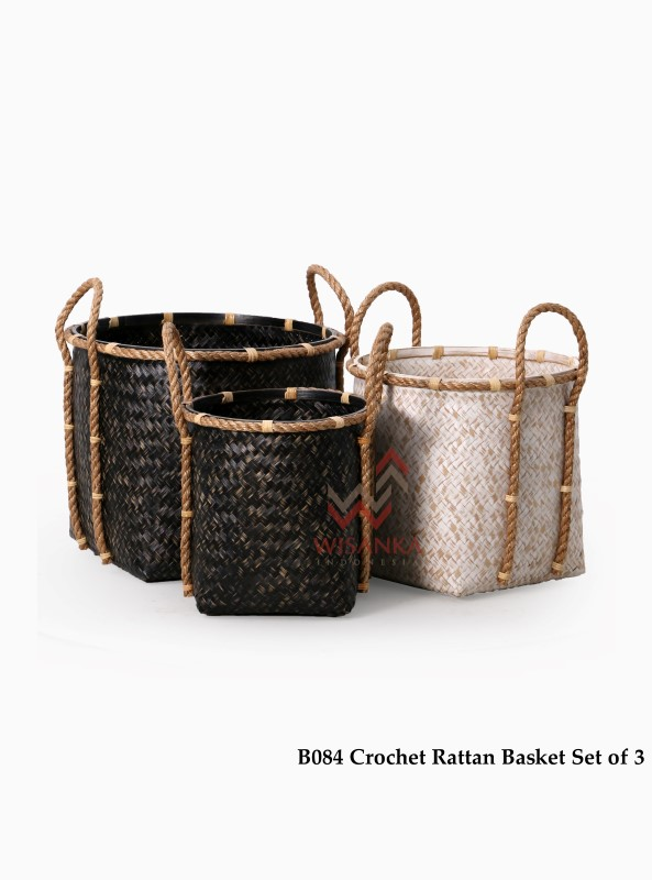 Crochet Rattan Basket Set Of 3