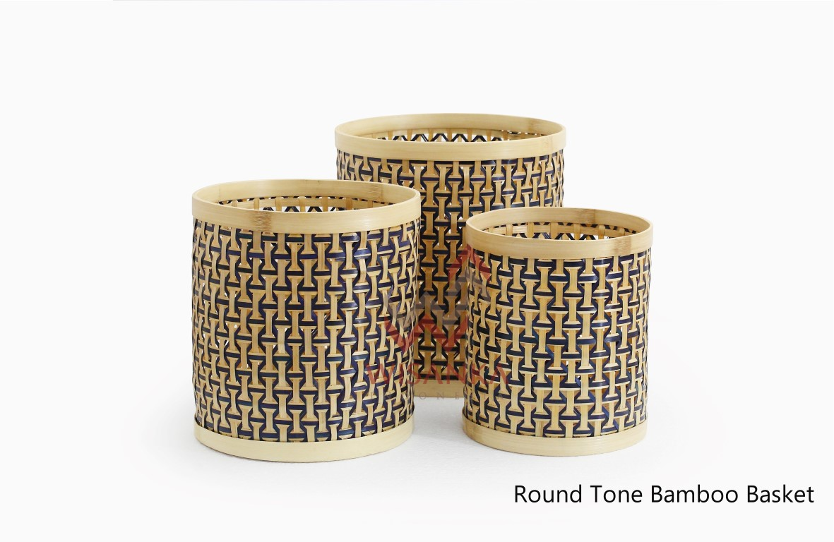 Round Tone Bamboo Basket Set Of 3
