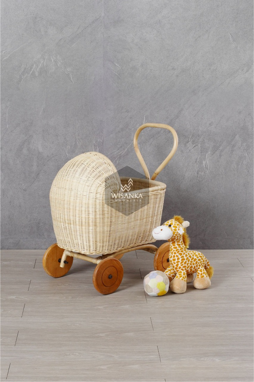 Tracey Rattan Doll Pram In Natural