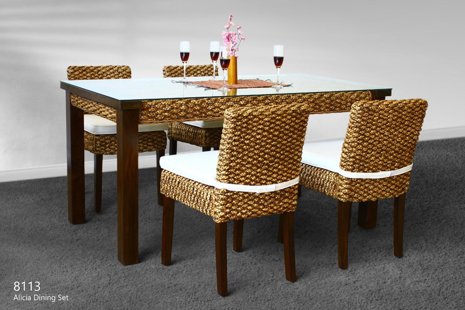 Alicia Wicker Cane Dining Set