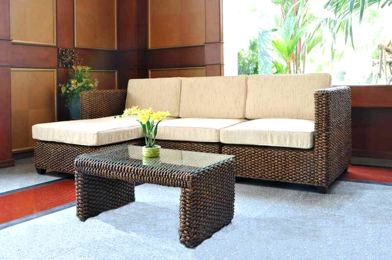 Rafless Wicker Sofa With New Table