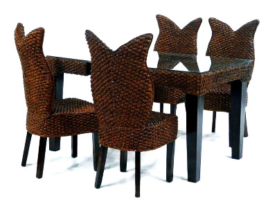 Olive Wicker Dining Set