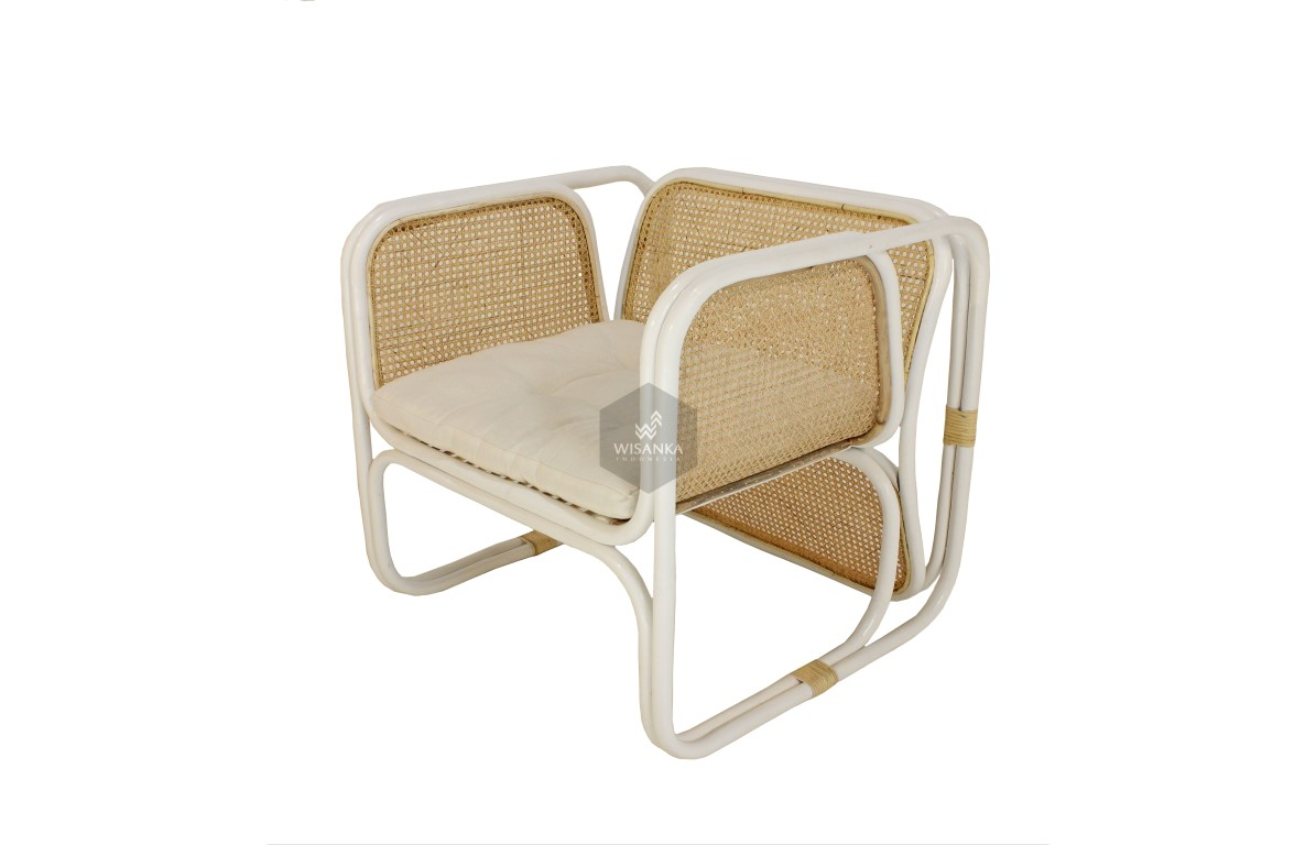 Fanie Rattan Arm Chair White